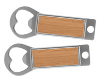 Metal Bottle Opener / Tab Opener Wood (Lot of 12)